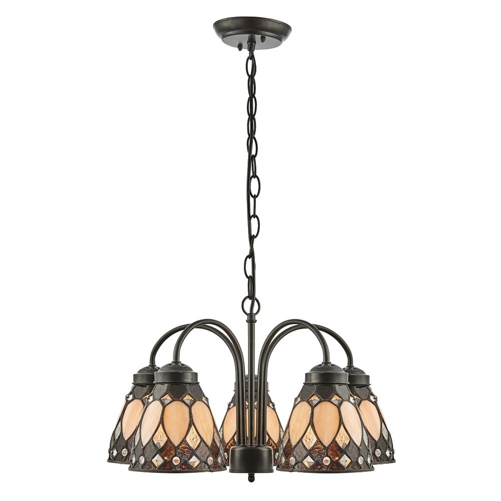 Domed Chandelier Pendant Light 359 Lights Stained Glass Victorian Ceiling Suspension Lamp in Blue