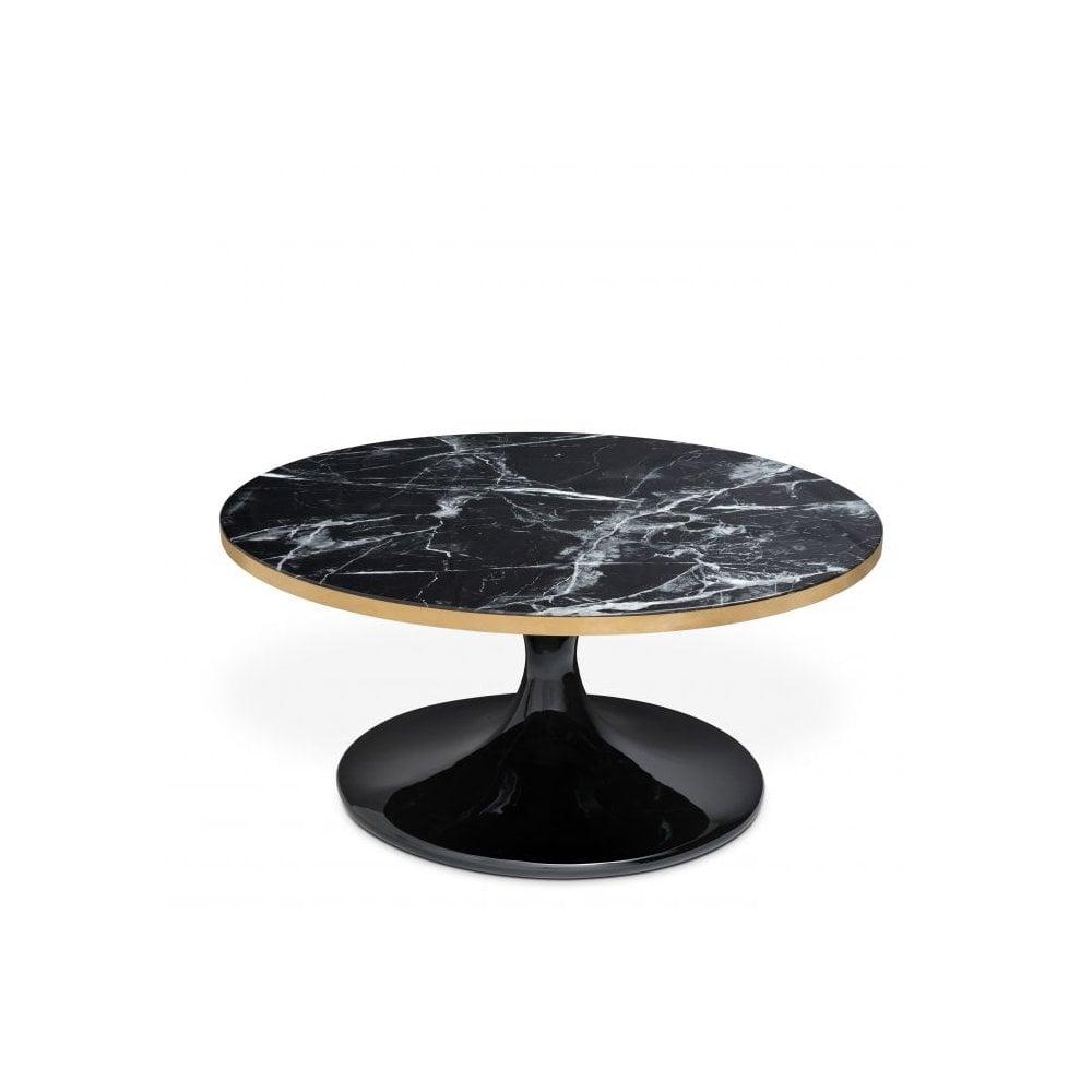 Eicholtz 112048 Coffee Table Parme Black Faux Marble Brushed Brass Rim Black Base Ideas4lighting