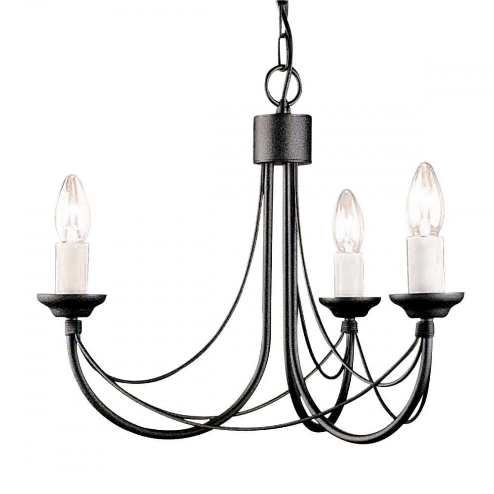 Elstead Cb3 Black Carisbrooke Matte Black Simple 3 Bulb Chandelier Ideas4lighting Sku11027i4l