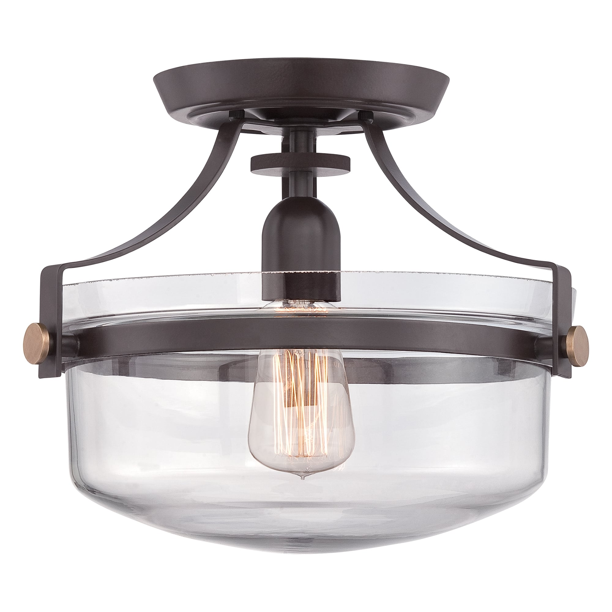 Penn Station Bronze And Glass Semi Flush Ceiling Light Ideas4lighting Sku12734i4l