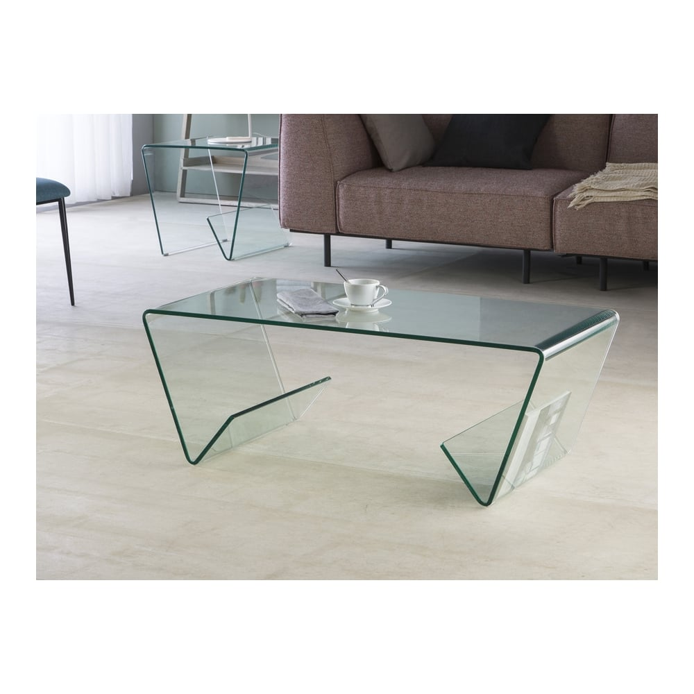 Clear Modern Curved Gl Coffee Table
